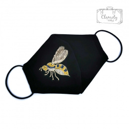 BLACK COTTON PROTECTIVE MASK WITH SILVER-GOLD BEE 1